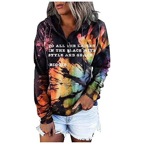 Briskorry Sudadera con capucha para mujer, de gran tamaño, vintage, con cordón, holgada, de manga larga, con capucha, Negro , L