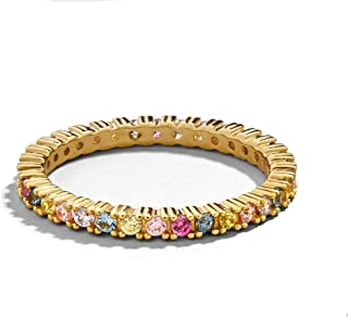 Rainbow Cubic Zirconia Gold Anniversary Eternity Ring Wedding Bands Rings for Women