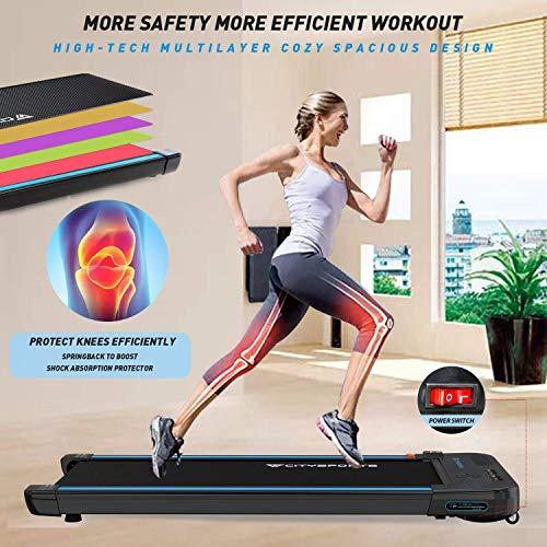 CITYSPORTS Treadmills for Home, Under Desk Treadmill Walking Pad Treadmill with Audio Speakers, Slim & Portable Treadmill with Remote & Dual LED Display, Office & Home Treadmills