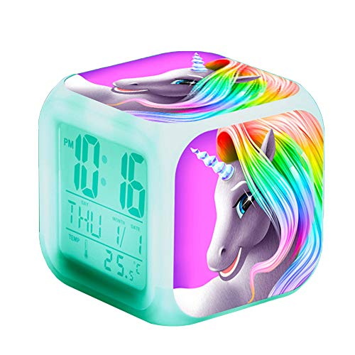 Einhorn Wecker Digital Mädchen Kinder Einhornwecker LED Night Uhr Beleuchteter Nachttischuhr mit Datum Temperaturanzeige (A)