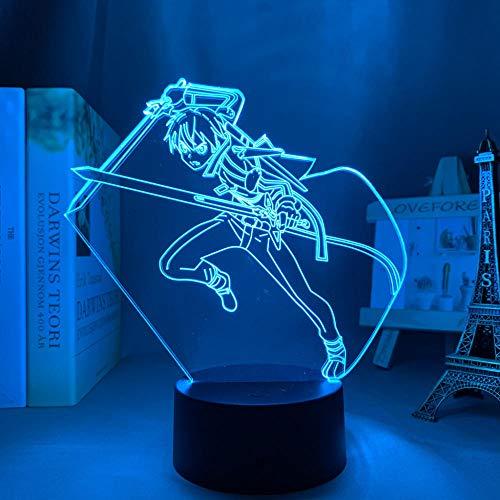 3D anime lámpara espada arte en línea Kirito figura para dormitorio decoración noche regalo cumpleaños interior led noche luz control remoto