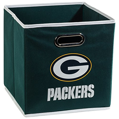 Franklin Sports NFL Green Bay Packers Collapsible Storage Bin - NFL Folding Cube Storage Container - Fits Bin Organizers - Fabric NFL Team Storage Cubes