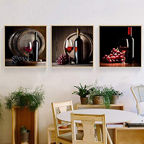 Plakate und Leinwanddrucke Wandkunst Gemälde Rotweingläser und Flaschen Wohnzimmerdekoration Gemälde,Rahmenlose Malerei,70X70cmx3