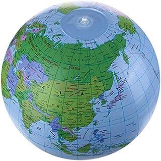 ビーチボール地球儀 世界地図 知力育て&お洒落なおもちゃ 英語併記付きの地球風船/バルーン グローブボール 空気入れのおもちゃ 撮影/誕生日/パーティ/水泳/海/風呂 Φ32cm±3cm(diqiouyi-lanse-161)