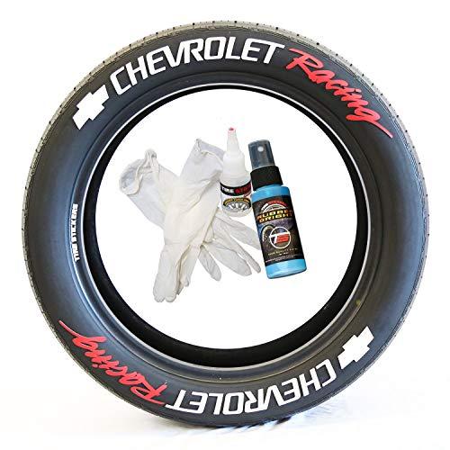 Tire Stickers Chevrolet Racing - Accessoire d'appoint pour Le Marquage des Pneus - Kit De Bricolage avec Colle & Nettoyant / 17-18 inch Wheels / 1.50 inches/White/Red / 8 Pack