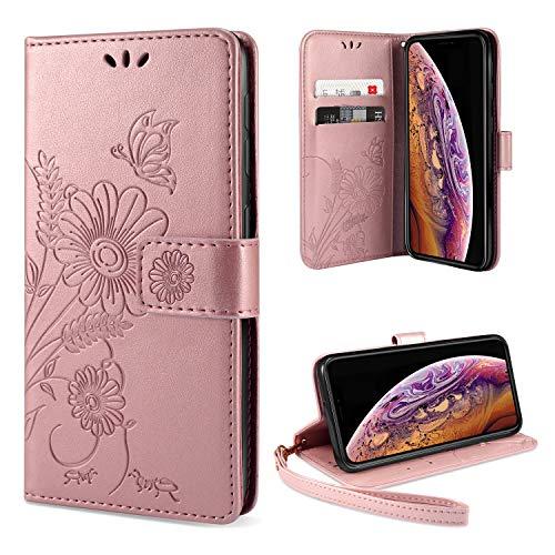AROYI iPhone XS Hülle Flip Lederhülle, iPhone XS Handyhülle Book Case PU Leder Tasche Case mit Kartenfach & Magnet Kartenfach Schutzhülle für iPhone XS - (Pink-Gold)