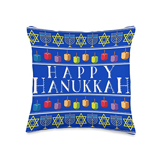 We Love Hanukkah Co. Happy Hanukkah Colorful Chanukah House Gift Idea Throw Pillow, 16x16, Multicolor
