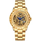 Men's Automatic 18K Gold-Plated Watch Luxury Skeleton Automatic Waterproof Watch (Full Gold)