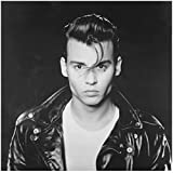 Johnny Depp 8x10 Photo Cry-Baby B&W Black Leather Jacket Over White Tee kn