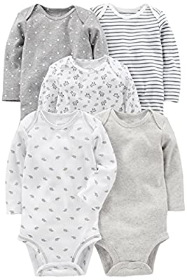 Simple Joys by Carter's Baby 5-Pack Neutral Long-Sleeve Bodysuit, Gray/White, 3-6 Months