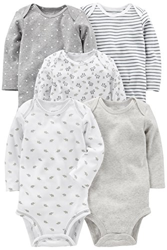Simple Joys by Carter's Baby - Body de manga larga para bebé (5 unidades) ,Gris/Blanco ,3-6 Months