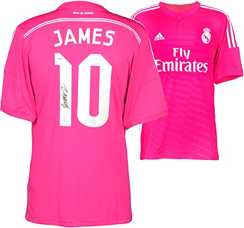 James Rodriguez Real Madrid Autographed Pink Jersey - Autographed Soccer Jerseys