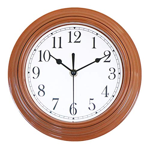 Foxtop 9 Inch Silent Non-Ticking Wall Clock Battery Operated Quartz Analog Quiet Easy to Read Clock for Kitchen (Brown)