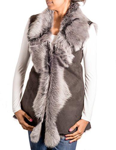 A to Z Leather para Mujer Gris del Ante con Piel de Oveja Negro Toscana Larga de la Piel Gilet/Chaleco tŽrmico