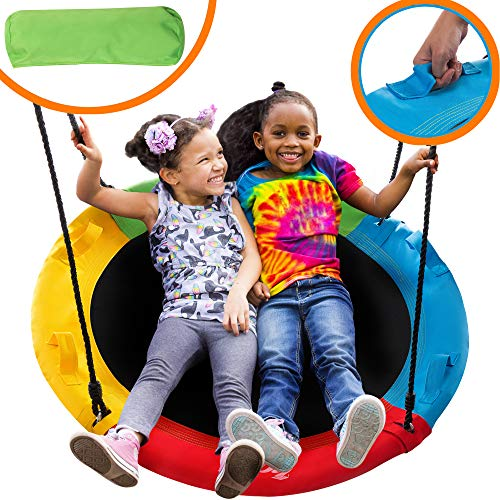 40' Saucer Tree Swing for Kids Outdoor with Straps - Round Outdoor Swings for Swingset - Large Tree Swings for Children with Hanging Kit - Heavy Duty Children Disk Swing for Outside