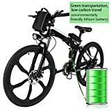 Kepteen 26 inch Electric Mountain Bike, 21 Speed Lithium Battery Aluminum Alloy E-Bike Bicycle for Adult (Black-Foldable-Integral Wheel-Upgrade)