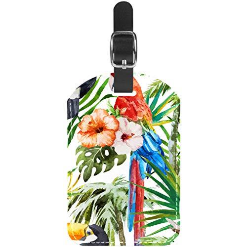 Gepäckanhänger, Aquarellpapier, Papagei, Tukan, Vögel, Blumendruck, Leder, Reisekoffer, Etiketten, 1 Packung