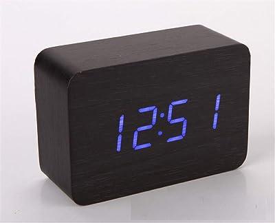 YUCH Reloj Despertador De Madera, Calendario Perpetuo, Dormitorio, Reloj Despertador, Negro