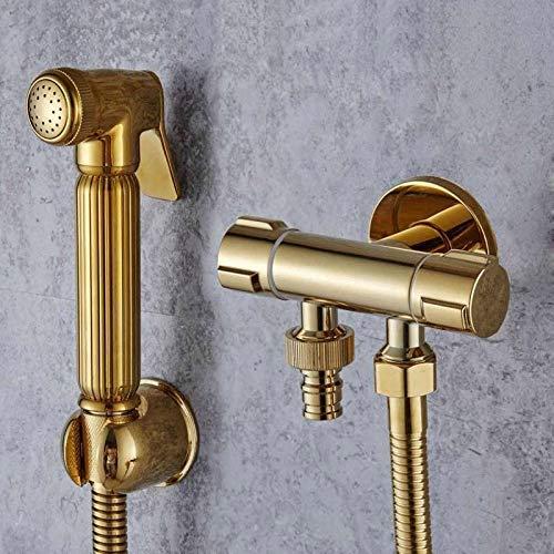 Rociador de grifo de bidé dorado, válvula de esquina de inodoro, grifo de jardín higiénico de mano, cabezal de bidé, rociador de mascotas, grifo de aerógrafo EL010