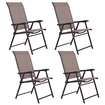 Giantex Patio Folding Sling Chairs Furniture Camping Deck Garden Pool Beach (Set of 4)