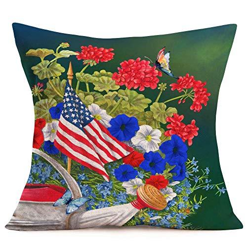Hokdny Funda de almohada con diseño de bandera patriótica americana, diseño de granja y hojas florales frescas para el día de la independencia, 45 x 45 cm, funda de cojín decorativa para el 4 de julio