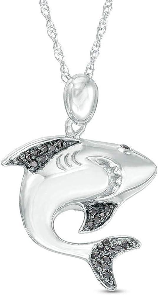 2021new shipping free shipping SLV 0.50 Carat Round Cut D VVS1 Pendant Black W 18 Max 69% OFF Shark Diamond