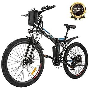 """immagine di Bicicletta Elettrica Pieghevole, Bici al Lavoro, E-Bike -Fold 20""""/26"""", Adulto, 250W Batteria 36V 8Ah, Cambio Shimano a 7 velocità (26 Avventura Nera)"""
