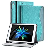 2019 iPad pro 10.5 Case with Pencil Holder for iPad Air 3rd Gen Cover/ipad pro10.5 inch 2017 and Multiple Viewing Angles Stand,Shockproof Soft TPU Cover+ Auto Sleep/Wake+Pocket (Blue)