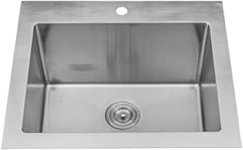 KABCO Stainless Steel Utility Laundry Sink Top Mount or Undermount Single Bowl 25 inch wide 12 inch deep 25