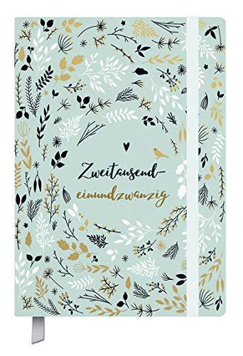 Kalenderbuch Campus Mint Flowers - Kalender 2021 - Oktober 2020 bis März 2022 - Korsch-Verlag - 18-Monats-Kalender - Taschenkalender A5 mit Lesebändchen und Verschlußgummi - 12,8 cm x 19 cm