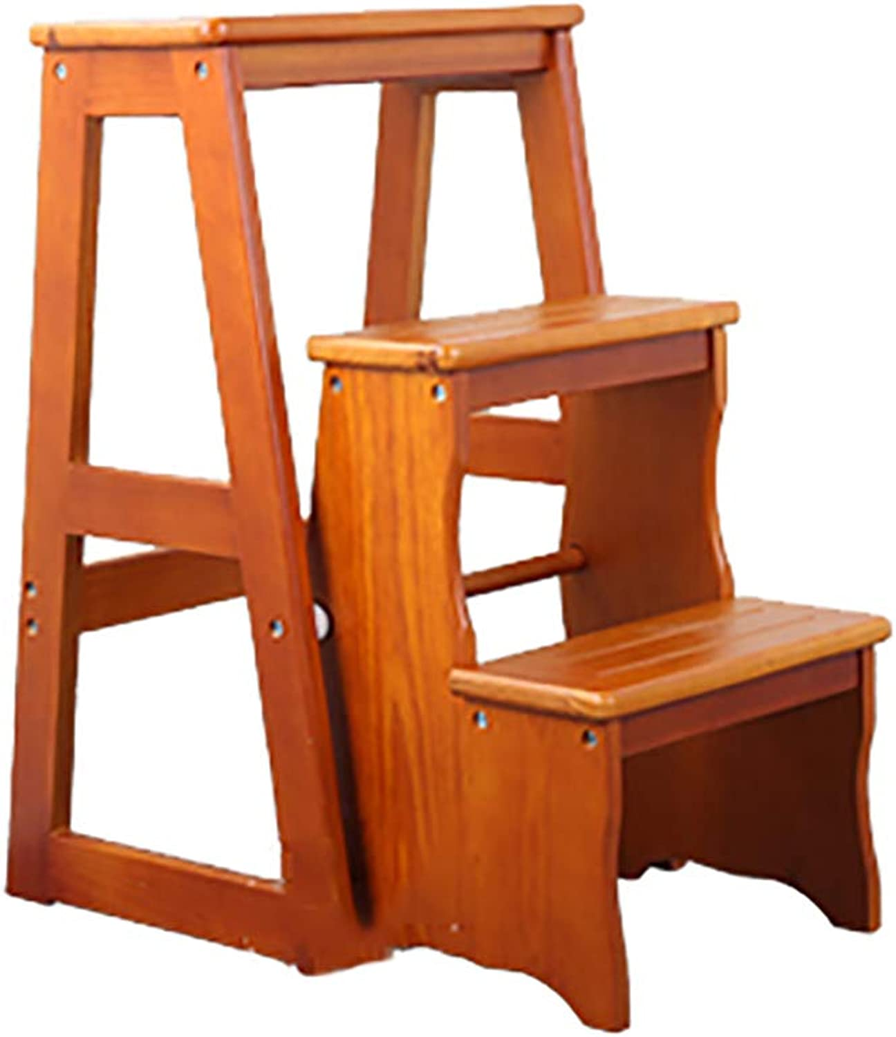Ladder Stools Solid Wood Folding Dual-use Step Indoor 4-step Ladder Chair Simple Household Multi-functional Staircase Stool, color Optional (color   Light walnut color)