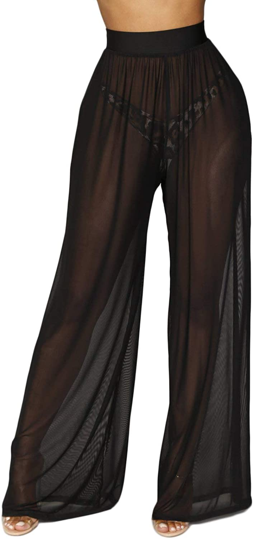 Awoscut Women See Through Sheer Mesh Pants Beach Swimsuit Bikini Bottom Cover up Party Club Elastic High Waist Wide Leg Pants