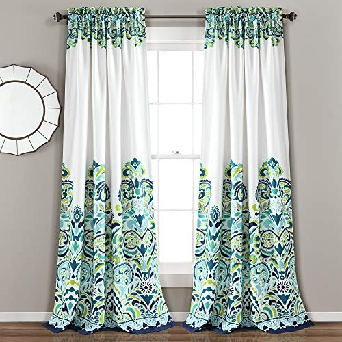 "Lush Decor, Blue and Green Clara Curtains Paisley Damask Print Bohemian Style Room Darkening Window Panel Set for Living, Dining, Bedroom (Pair), 84"" x 52 84"" x 52"""