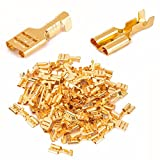 TO_GeT For Home Tools_TgT 100pcs 6.3mm Female Crimp Terminal Connector Gold Brass Car Speaker Electric Wire Connectors Set