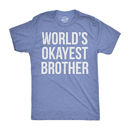 Mens Worlds Okayest Brother Shirt Funny T Shirts Big Brother Sister Gift Idea (Heather Light Blue) - XL