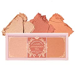 💗 3 SHADES IN ONE PALETTE: I'M Afternoon Tea Blusher Palette is a blush palette with 3 shades inspired by brewed tea. The powder blush gives a natural and healthy-looking flush to the cheeks. 💗 LONG-LASTING AND FLAWLESS PAYOFF: Sebum-control effect a...