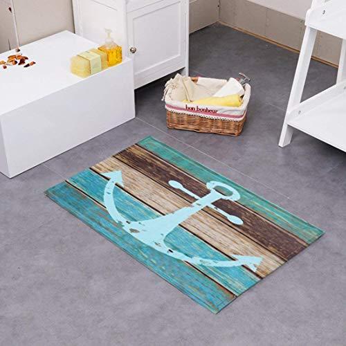 JameStyle26 Schöne Fußmatte Badezimmermatte Rutschfest Duschmatte schnelltrocknend Anti-Rutsch Küchenmatte Badezimmer Teppich Matte (Anker, 40 x 60 cm)