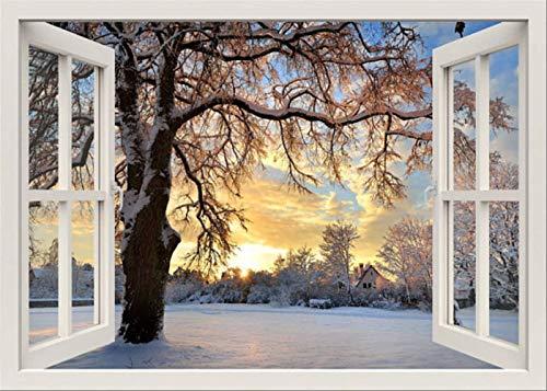 Efecto 3D Vista De Ventana Pegatinas De Pared Naturaleza Invierno Calcomanía De Vinilo Decoración Mural Paisaje Arte Decoración Para El Hogar 40X60Cm A