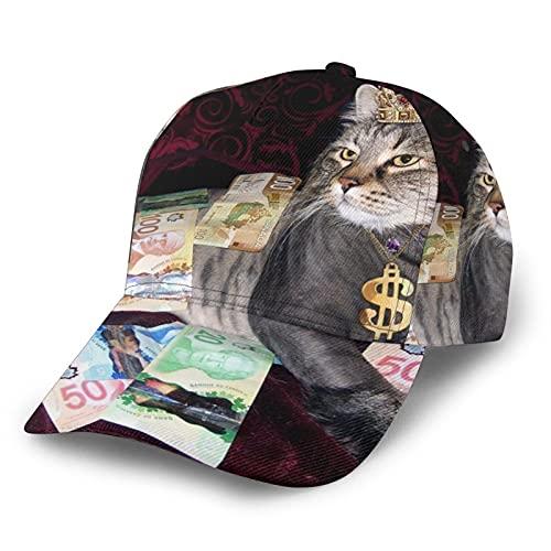 Gorras De Béisbol Gato Con Corona Divertido Dinero 3D Ajustable Snapback Al Aire Libre Trucker Sombreros Negro