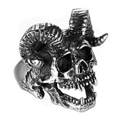 PAMTIER Hombre Acero Inoxidable Vendimia Satán Cuerno Cabra Cráneo Anillo Plata Negro Tamaño 22