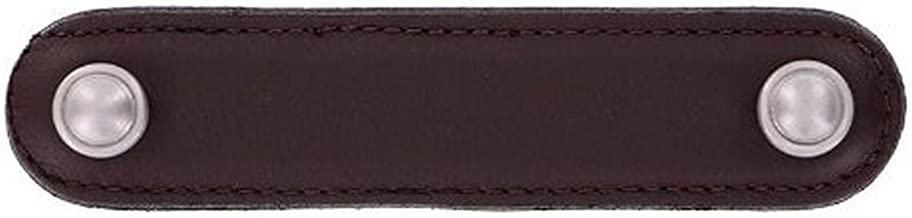 Antique Nickel Vicenza Designs K1174 Pollino Turtle Leather Pull 4-Inch Brown