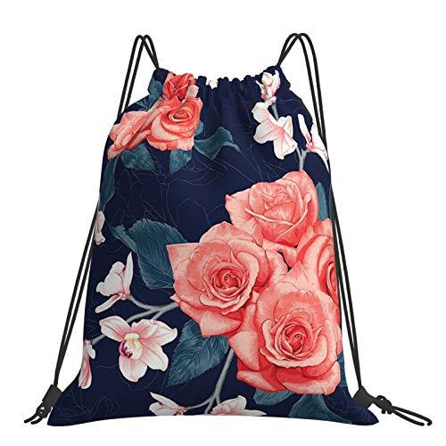 Mochila con cordón, diseño abstracto de rosas y orquídeas, mochila con cordón, deportes al aire libre y bolsa de viaje de fitness