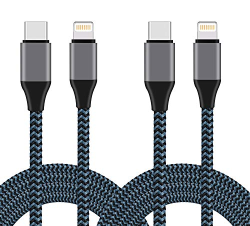 USB C to Lightning Cable, Sundix 2Pack 6FT Nylon Braided Charging Syncing Cord Compatible with iPhone 13/13ProMax/13Mini/12/12Pro/12ProMax/11/11Pro/11Pro MAX/XS/XS MAX/XR/X/8/8Plus and More