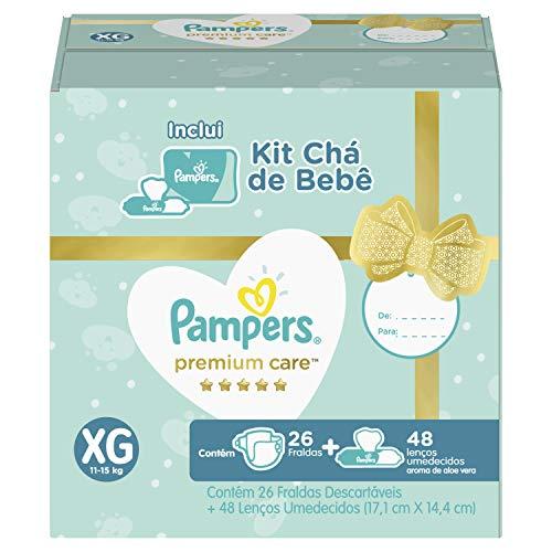 Kit Fralda Pampers Premium Care XG 26 Un + Lenços Umedecidos Aloe Vera 48 Un, Pampers