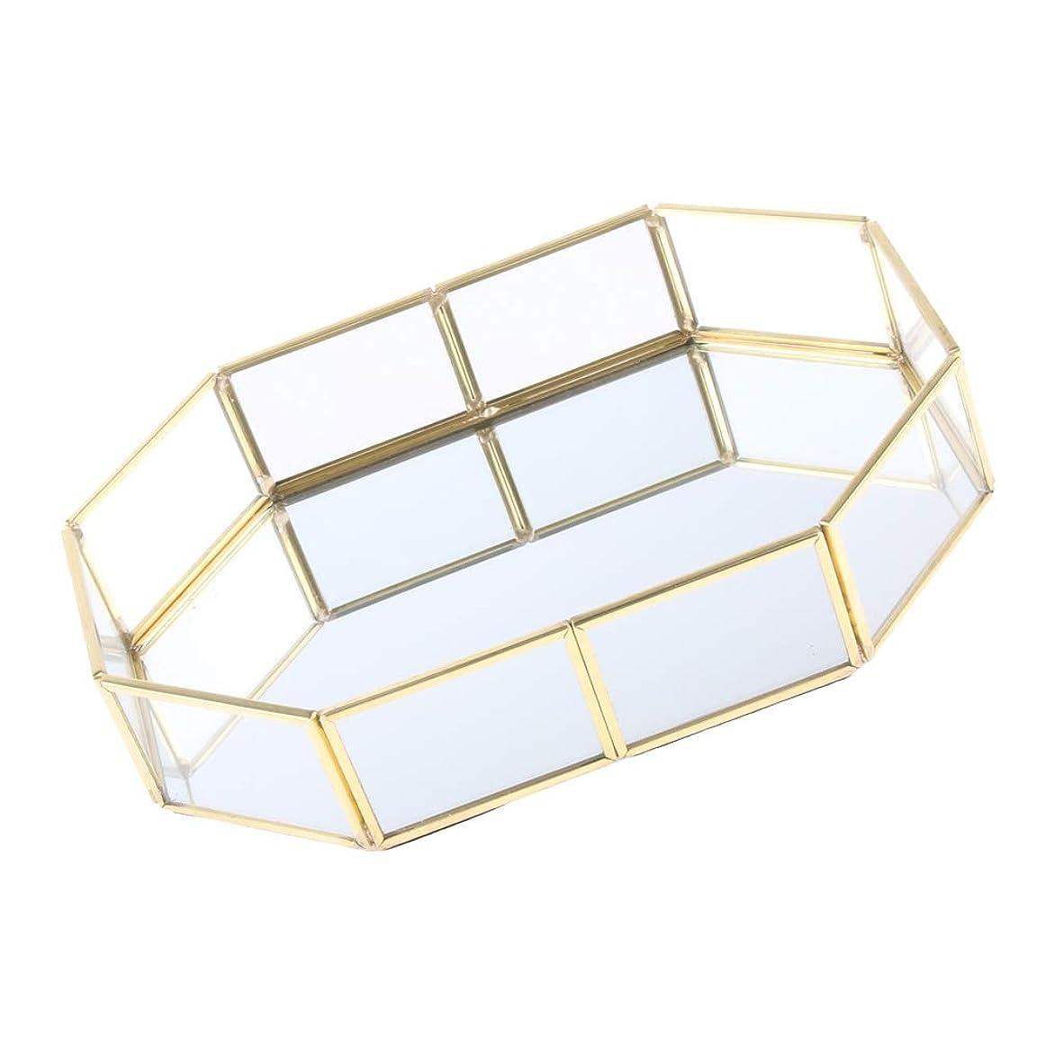 申し立て地下室B Baosity 化粧ブラシホルダー エレガント 315×50×215mm ゴールド メタル ガラス ジュエリートレイ 品質保証