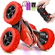 ORRENTE RC Cars Stunt Car Toy Remote Control Car, Offroad Remote Control Monster Trucks 4WD 2.4Ghz RC Rock Crawler with Headlights, Double Sided 360° Flips RC Car Toys Gift for Kids Boys Girls (Red)