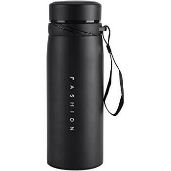 Fdit 900ml Stainless Steel Water Bottle Leak Proof Thermal Insulated Tea Coffee Cup Mug for Travel Gym Camping Hiking Biking (Black)