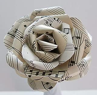 Vintage Sheet Music Paper Rose on Stem, Sculpted Flower, Black & White 4 Inch Single Bloom, Music Theme Party Decor, Band Teacher Gift Idea