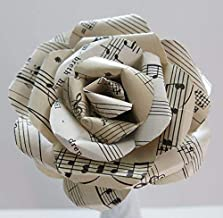 Vintage Sheet Music Paper Rose on Stem, Sculpted Flower, Black & White 4 Inch Single Bloom, Music Theme Party Decor, Band Teacher Gift Idea