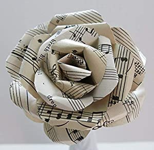 Image: Vintage Sheet Music Paper Rose on Stem | Sculpted Flower | Black + White Large Single Bloom | Music Theme Party Decor | Band Teacher Gift Idea